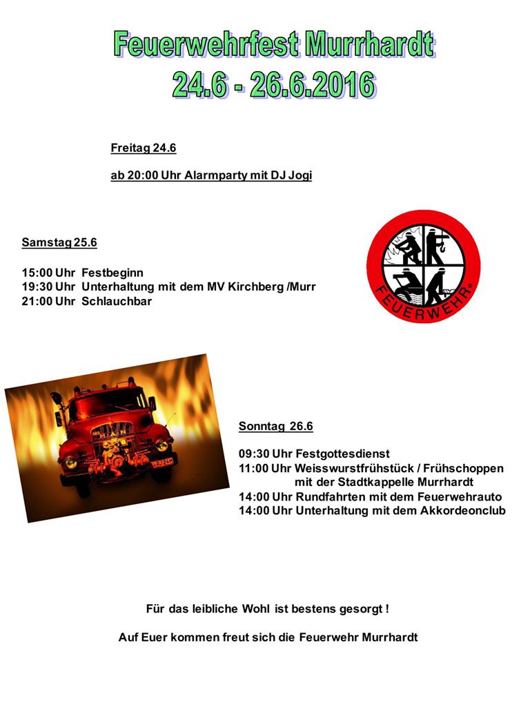 Programm Feuerwehrfest